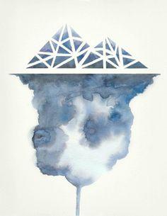 Iceberg no.2 Art Print by Hrefna Watercolor cloudy texture and geometric shape iceberg.