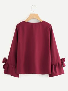 Bow Tie Sleeve Pleated Front Blouse -SheIn(Sheinside)