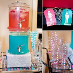 Baby gender reveal party ideas - team blue and team pink. I love everything about this party.  it! dont let anyone know until some part in the party! =] I SAW THESE STACKABLE CONTAINERS TODAY AT GABES!!