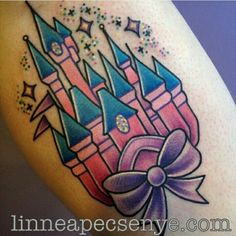 Disney Castle Tattoo by Linnea Pecsenye in Asheville, NC Girly Tattoos, Disney Tattoos, Cute Tattoos, Small Tattoos, Tattoos For Guys, Tatoos, Kawaii Tattoos, Color Tattoos, Disney Castle Tattoo