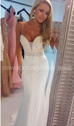 US$119.35-Delicate Beadings Sequins Mermaid Wedding Dress 2016 with Spaghetti Strap. http://www.newadoringdress.com/delicate-beadings-sequins-mermaid-wedding-dress-2016-spaghetti-strap-p710887.html. Shop our best wedding dresses & wedding gowns, wedding reception dress collection, special occasion dress collection @www.newadoringdress.com. Free custom-made of any dress design & Free Shipping! #weddingdress #NewAdoringDress.com