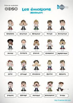 Emotions Source by French Teaching Resources, Teaching French, How To Speak French, Learn French, French Adjectives, French Worksheets, French For Beginners, Material Didático, French Education
