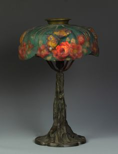 Pairpoint Puffy Lamp w/Butterfly & Rose
