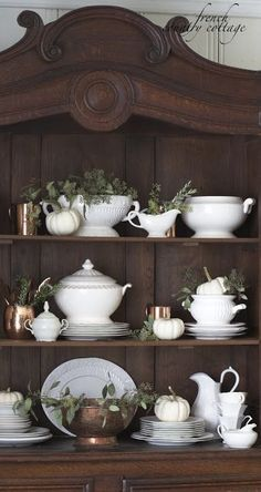 dining room china cabinet and hutch decor - add copper and seeded eucalyptus room design with china cabinet Simple Autumn Home French Country Kitchens, French Country Farmhouse, French Country Style, French Cottage, Kitchen Country, Country Homes, Country Chic, Country Cottages, Cottage Art