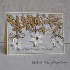 handmade Christmas card from Blog Shop Artimeno ... snowflake flowers ... modular origami pieces made with triangles folded .. vintage look ... beautiful gold holly twigs ...