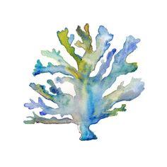 Imprimir acuarela coral. Arte costero. por SnoogsAndWilde en Etsy