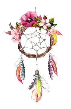 Dream catcher - feathers, leaves, flowers. Autumn watercolor, boho style vektör sanat illüstrasyonu