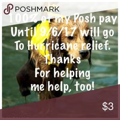 Doing all I can to pitch in to help after Harvey! Everything sold on Poshmark and Etsy this week will be pulled together with whatever else I come up with to be sent to Texas relief efforts. Go ahead and clean me out. My house isn't underwater! Other