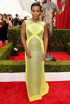 Pop of Color: Uzo Aduba wears Angel Sanchez dress...