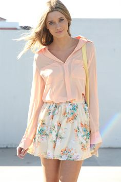 Outfit   Peach and Floral Outfit for Spring