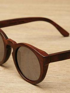 Illesteva Leonard Wood Sunglasses, natural grain rounded frame, translucent black lenses