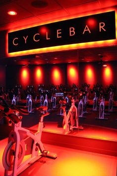 There's a new cycling studio in town! CycleBar is popping up across the US in su. Gym Design, Fitness Design, Spinning, Gym Lighting, Gym Interior, Gym Room, Indoor Cycling, Prince, My Gym