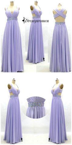 prom dress, 2016 prom dress, lavender long chiffon prom dress, graduation dress…
