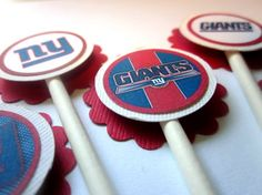 New York Giants Super Bowl Party Cupcake Toppers Favors - Set of 12 $5.00