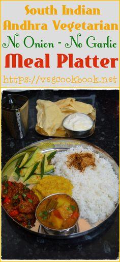 Bhojanam/Thali/Platter # 1 - VegCookBook by Praveena Vegetarian Rice Recipes, Vegan Food, Vegan Recipes, Food Collage, Legumes Recipe, Lentil Stew, Indian Kitchen, Garlic Recipes, Food Court