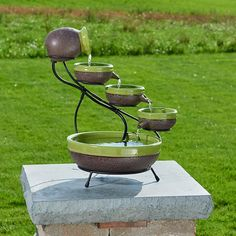 Ceramic Outdoor Fountain Solar Powered Cascade Deck Patio Garden Backyard Green…