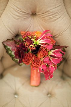 coral, pink and orange floral decor from Eddie Zaratsian of tic-tock Couture Florals, engagement photos by Kris Kan