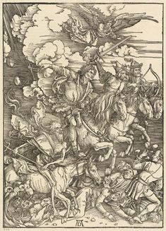 """Summary In 1498 Albrecht Dürer created this artpiece """"The Four Horsemen"""". This artwork belongs to the art collection of National Gallery of Art, which is the museum of the US-American nation that preserves, collects, exhibits, and fosters an understanding of works of art. With courtesy of - National Gallery of Art, Washington (public domain).The creditline of the artpiece is the following: . Furthermore, alignment is in portrait format with an image ratio of 1 : 1.4, which implies that the… Albrecht Durer, Apocalypse Art, Horsemen Of The Apocalypse, Claude Monet, Les Quatre Cavaliers, Harvard Art Museum, Fine Art Prints, Canvas Prints, National Gallery Of Art"""