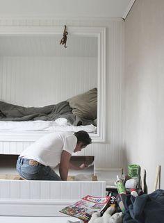 work in progress - Lovely Life Bedroom Nook, Attic Bedrooms, Upstairs Bedroom, Budget Bedroom, Small Room Bedroom, Kids Bedroom, Bedroom Decor, Built In Bed, Alcove Bed