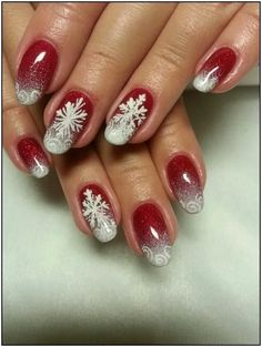Winter nails with snowflake; red and white Christmas nails; cute and unique Christmas nails; Daisy Nail Art, Red Nail Art, Flower Nail Art, Flower Nail Designs, Ombre Nail Designs, Christmas Nail Art Designs, Xmas Nails, Christmas Nails, White Christmas