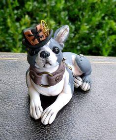 Handmade Polymer Clay Steampunk Boston Terrier by MysticReflections