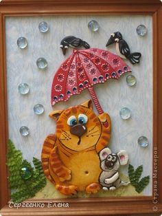 The painting mural drawing Modeling sweet couple and hare - pobegayka salty dough Photo 1