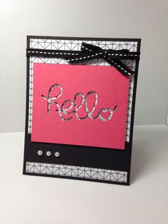 Shell's life: Hello You thinlit dies  Used Stampin' Up! Hello You Thinlits, Back to Black dsp.  Please see blog for details!