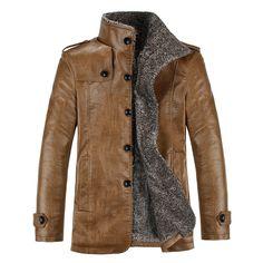Chaqueta de cuero de hombre de invierno PU chaquetas y abrigo de lana engrosamiento cortavientos impermeable de la piel cálida piel del cordero de Trench escudo Plus tamaño 4XL(China (Mainland))