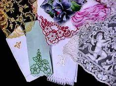vintage antique linens, lace hankies