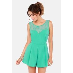 DAY AT THE LACES SEAFOAM LACE ROMPER $40.00