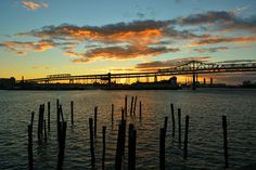 Professional Prints.  Sizes: 10 X 8 inches and 19 X 13 inches.  This is a picture of the Tobin Bridge during an unbelievable Fall sunset.  I love the colors the sky mad that night and how much the color in the clouds accentuated the water.  IG: @burnsobright11 website: www.burnsobright.com