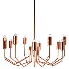Sleek and stylish, the Olbia Chandelier in Copper features delicate lines with a bold metallic finish. This modern fixture has a timeless look that's fit to dazzle. Chandeliers, Mini Chandelier, Chandelier Lighting, Lighting Store, Home Lighting, Modern Lighting, Copper Lighting, Christmas Lights Inside, Doors