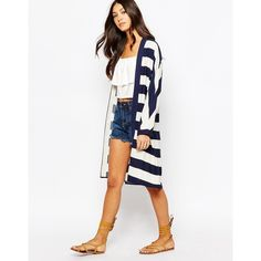 Oasis Stripe Duster Coat (70 CAD) ❤ liked on Polyvore featuring outerwear, coats, multi navy, duster coat, white coat, striped coat, oasis coat and lightweight coat