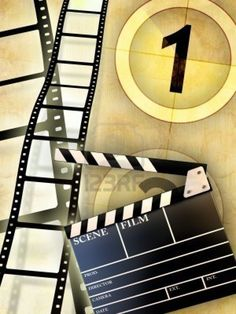 Cinema Themed Composition, Including A Slate And Some Blank Film.. Royalty Free Stock Photo, Pictures, Images And Stock Photography. Image 6818794.