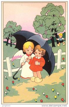 umbrellas.quenalbertini: A big black umbrella | J. Gouppy Card