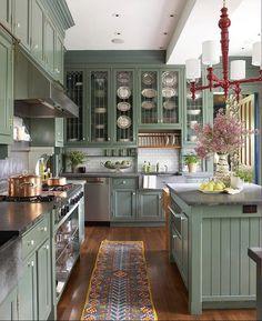 Olive Green Kitchen, Green Kitchen Walls, Green Kitchen Decor, Green Kitchen Cabinets, Rustic Kitchen, Kitchen Interior, New Kitchen, Dark Cabinets, Green Country Kitchen
