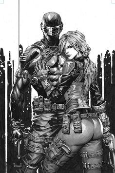 Dc Comics Art, Comics Girls, Comic Books Art, Comic Art, Snake Eyes Gi Joe, Gi Joe Characters, Marvel Paintings, Storm Shadow, Black And White Sketches