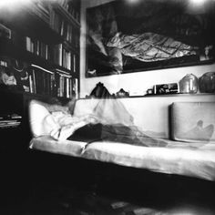 I love how #pinhole photography can show a person's movement in a room, how dynamics and a time period  rather than a moment are captured. Great inspiration for the #obscura book!