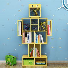 Bookshelf Storage, Bookshelves Kids, Robot Bedroom, Kids Bedroom, Traditional Bookcases, Wooden Playhouse, Boys Playhouse, Cartoon Design, Kid Beds