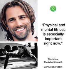 """""""Physical and mental fitness is so important right now,"""" Christian from kotosportat knows and therefore offers direct fitness coaching via video chat. 💪  Let Christian be your coach and get a customized workout from home.   Connect easily and directly on klickerr → Sport, Right Now, Videos, At Home Workouts, Physics, Fitness, Coaching, Christian, Connect"""