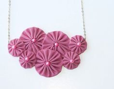 Statement necklace pink fabric yoyo by violasboutique on Etsy, $18.00