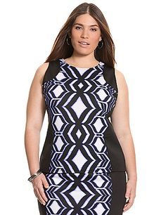 With a blocked ikat print and thoughtful seaming details to flatter where it counts, or zip-back shell is a welcome update to your wardrobe. Perfect for layering or as a stand-alone style, the sleek scuba construction gives this versatile top a luxe hand feel and durable, wrinkle-free ease. lanebryant.com