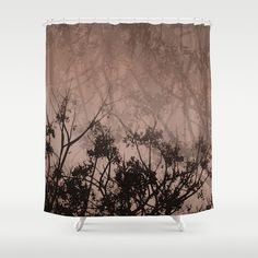 Brown Sky & Tree Branches Shower Curtain, Washable Fabric, Nature Home Decor, Brown Bathroom Decor, Landscape Photography, Silhouette Art - pinned by pin4etsy.com