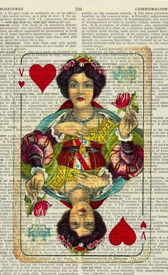 altered page // Queen of Hearts.  BEAUTIFUL!