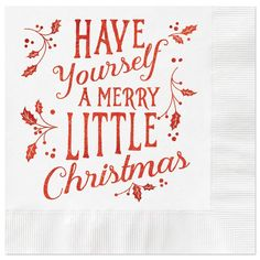 Merry Little Christmas Coined Cocktail Napkins - Package of White Napkin with Red Metallic Foil. 4 x 4 folded. Made in the USA Merry Christmas Greetings, Merry Little Christmas, Christmas Wood, Christmas Quotes, Christmas Greeting Cards, Christmas Time, Christmas Crafts, Christmas Design, White Christmas