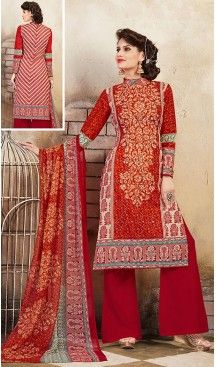 Red Color Cotton Straight Cut Style Geometric Print Palazzo Kameez | FH514278269 #casual, #salwar, #kameez, #online, #trendy, #shopping, #latest, #collections, #summer,#shalwar, #hot, #season, #suits, #cheap, #indian, #womens, #dress, #design, #fashion, #boutique, #heenastyle, #clothing, #cotton, #printed, #materials, @heenastyle