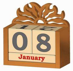 Wooden perpetual calendar plan - lots of free plans on this site Desk Calender, Wooden Calendar, Diy Calendar, Wood Projects, Woodworking Projects, Projects To Try, Wood Crafts, Diy And Crafts, Perpetual Calendar