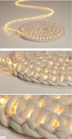 Crochet around rope lights for a light-up rug!