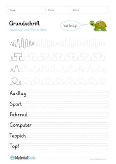 Grundschrift - MaterialGuru Homeschool, Lettering, Education, Words, Montessori, German Language, Kids Learning, School Worksheets, Primary School