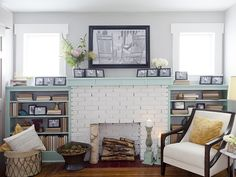 Fall In Love With HGTV's Cutest Home Libraries -- Fireside Home Library from Cousins Undercover || I like the big photo above the fireplace, too, with the rocking chairs. What's less attractive is the arrangement of all those other B&W photos, they all look the same...